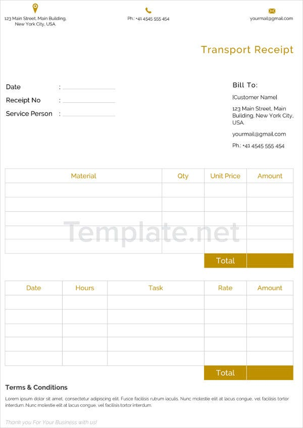 Transport Receipt Templates