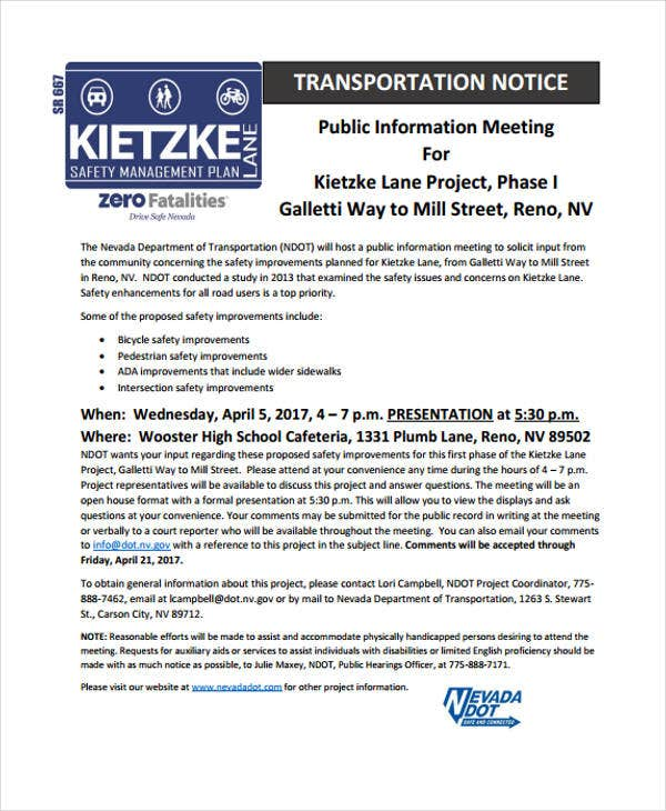 transportation notice