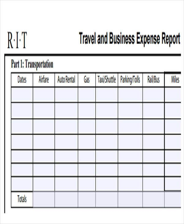 travel business expense report