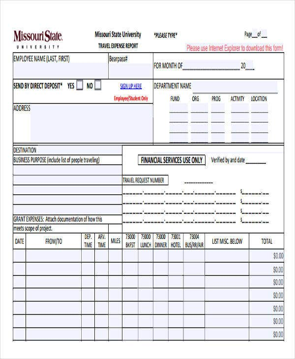 travel expense report example