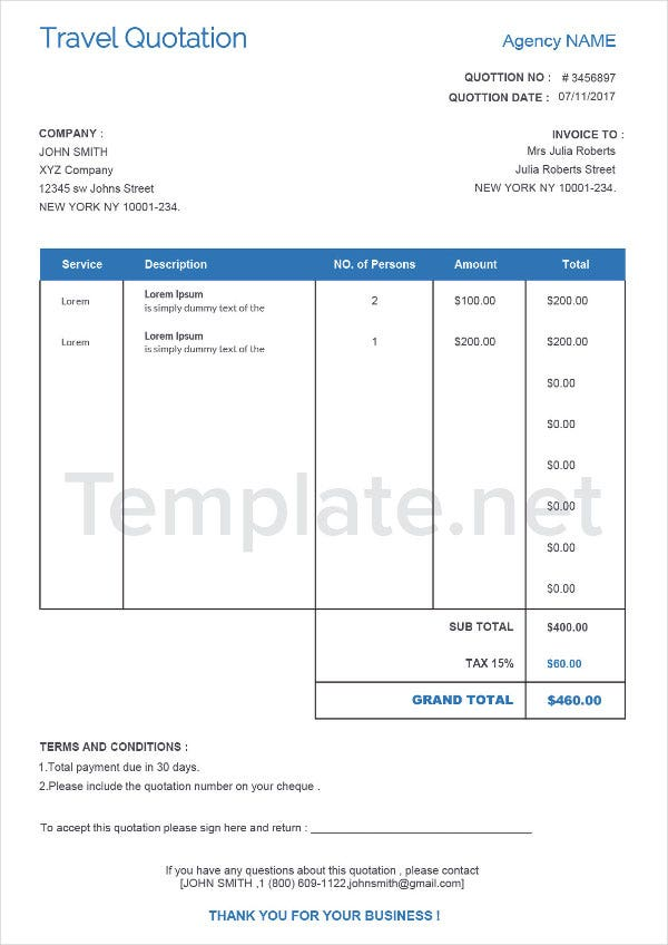 Purchase Quotation Samples
