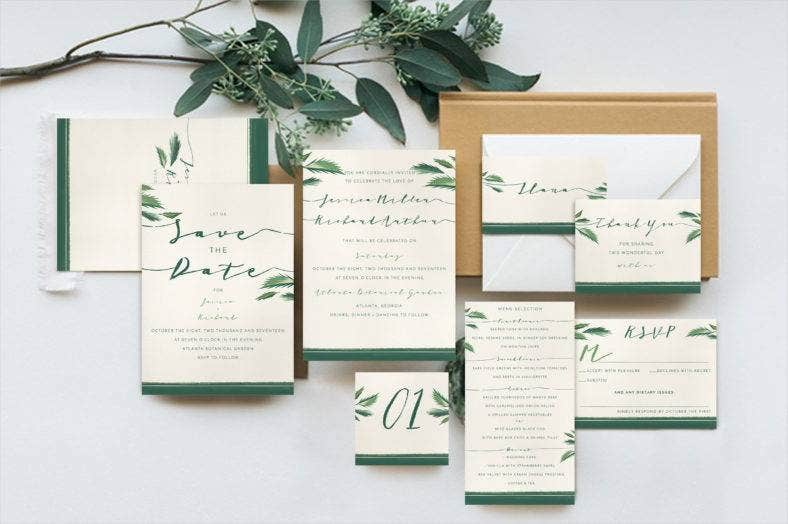 tropical wedding stationery set