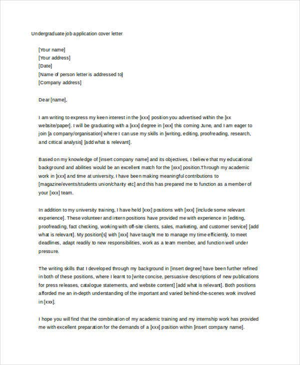 Undergraduate Student  Occupational Therapy Cover Letter