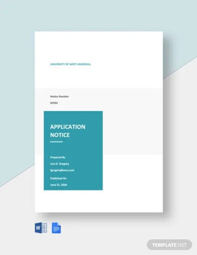 university application notice template