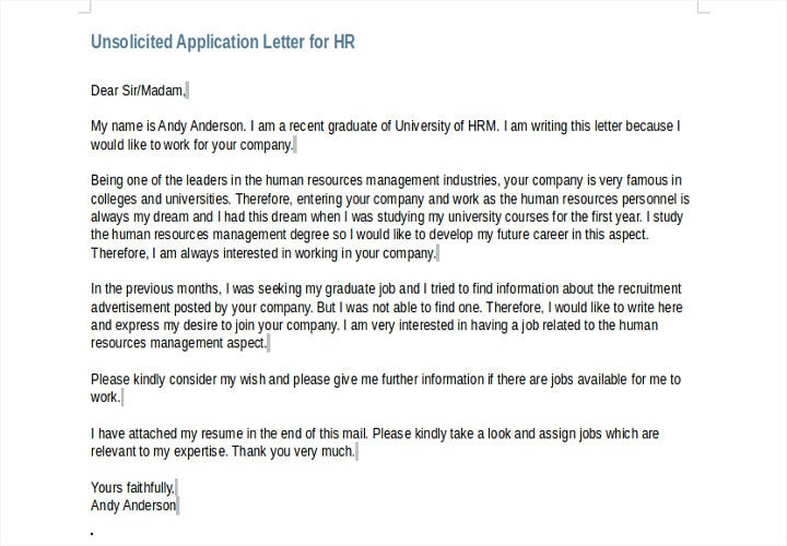 unsolicited application letter for hr