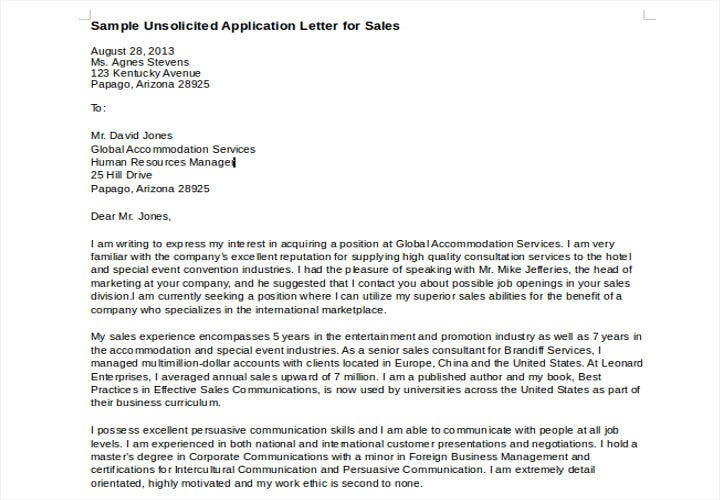 unsolicited application letter for sales