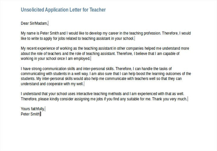 unsolicited application letter for teacher