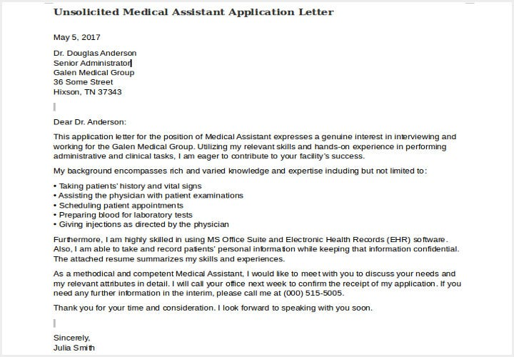 unsolicited medical assistant application letter