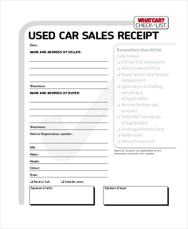 used car sale receipt