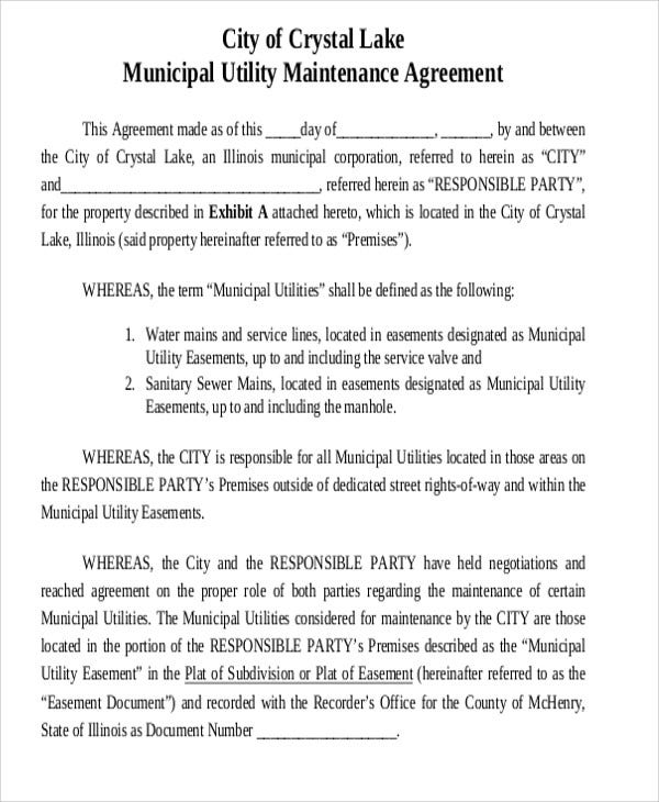 Municipal Utility Agreement