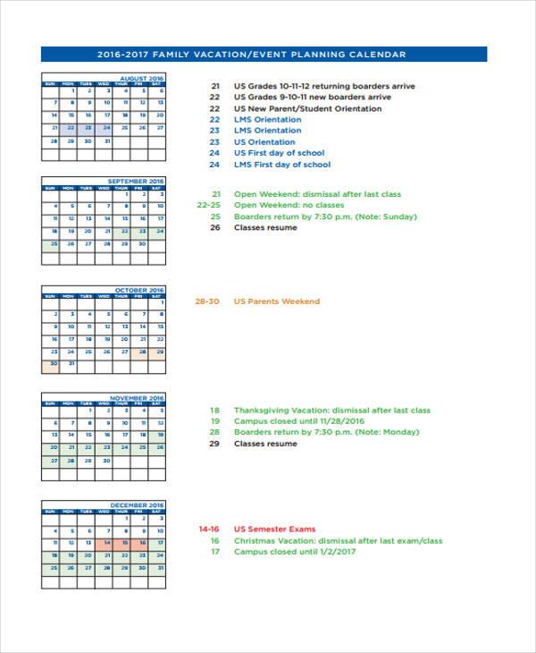 vacation planning calendar