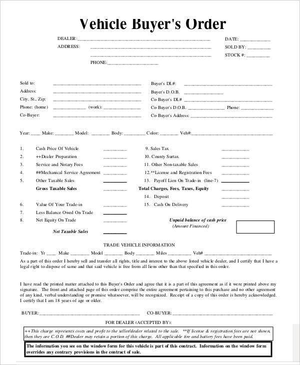 vehicle purchase order template 7 Vehicle Order Templates - Free Sample, Example, Format Download ...