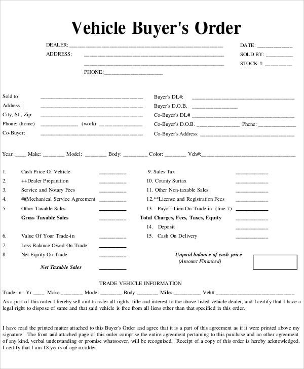vehicle buyer order