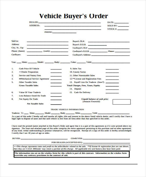 buyers order template vehicle buyers order template - Incep.imagine-ex.co