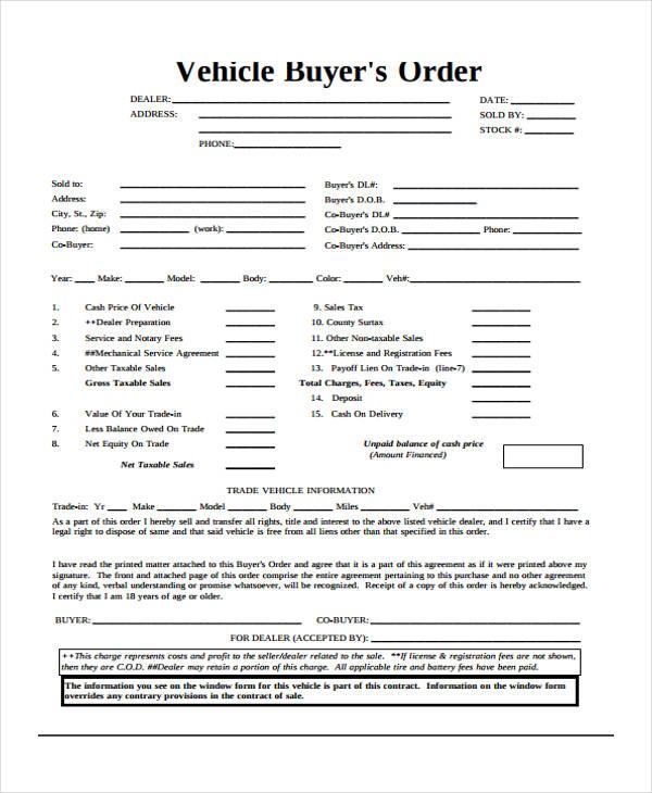 29 blank order templates