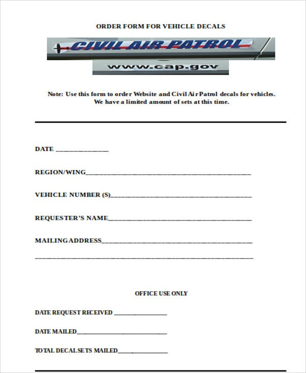 Vehicle Order Templates   Free Word Pdf Format Download  Free