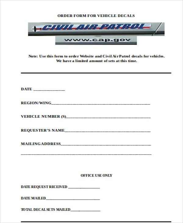 vehicle decals order