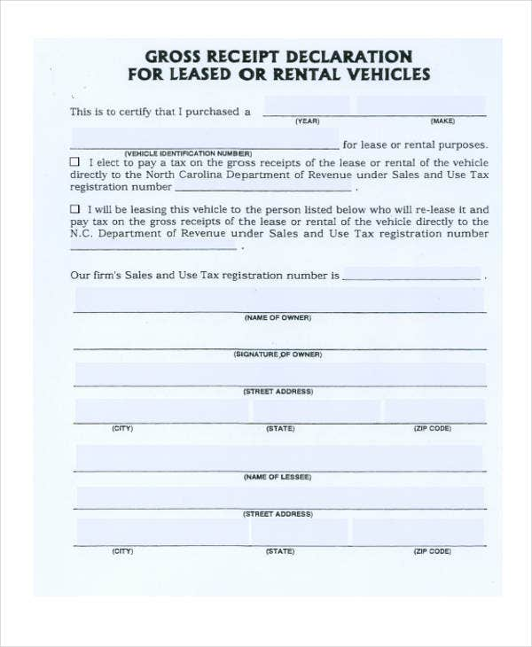 vehicle lease receipt pdf