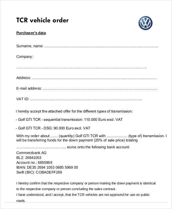 Vehicle Order Templates - 7+ Free Word, Pdf Format Download | Free