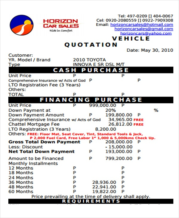 vehicle purchase format