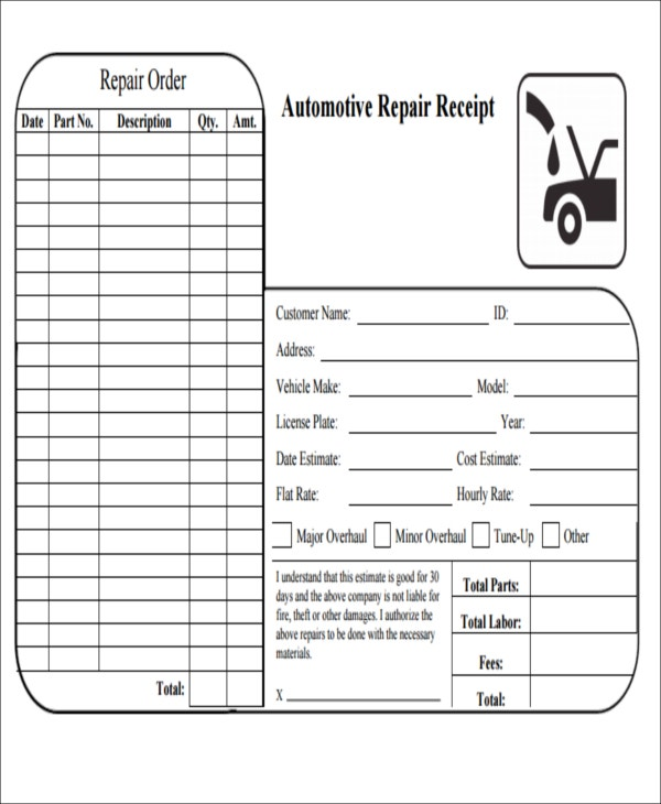 vehicle repair receipt