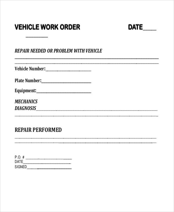 7 vehicle order templates word pdf