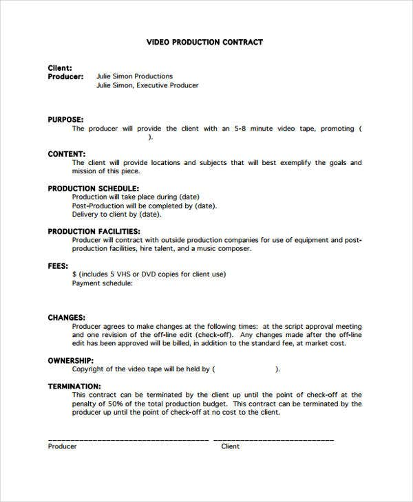 Production Contract Templates   Free Word Pdf Format Download