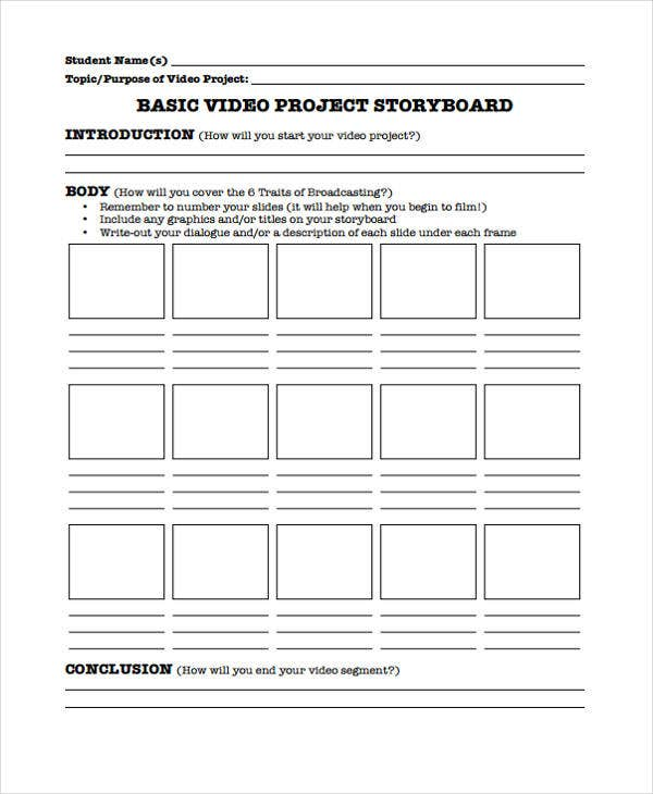 Project Storyboard Free Sample Project Storyboard Template