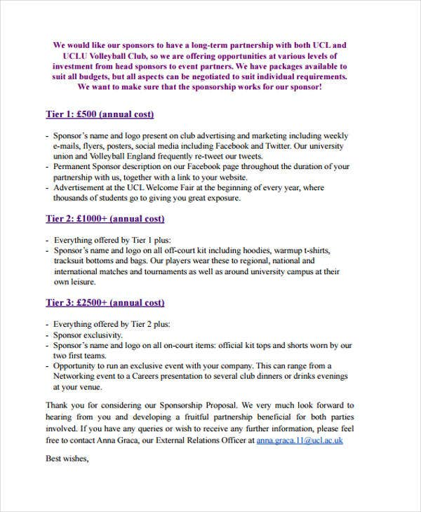 Sponsorship Proposal Template Sponsorship Proposal Examples Samples