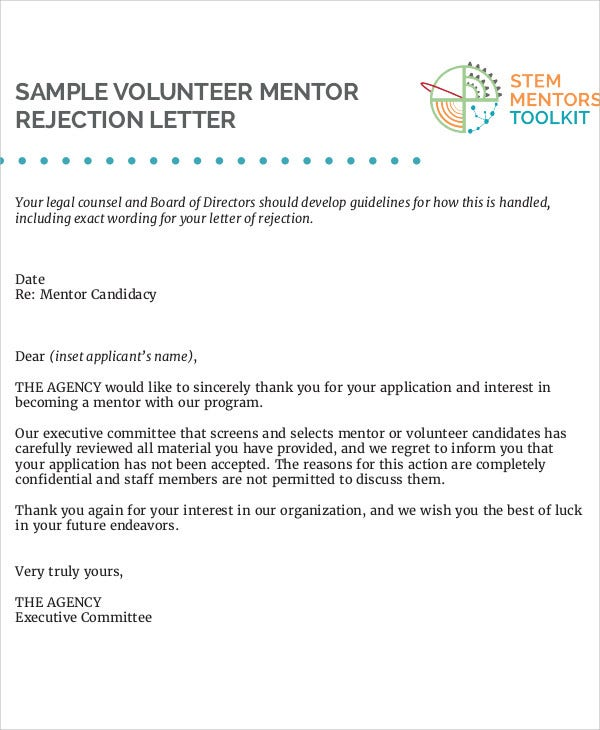 volunteer job rejection