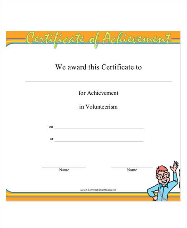 volunteer service certificate1