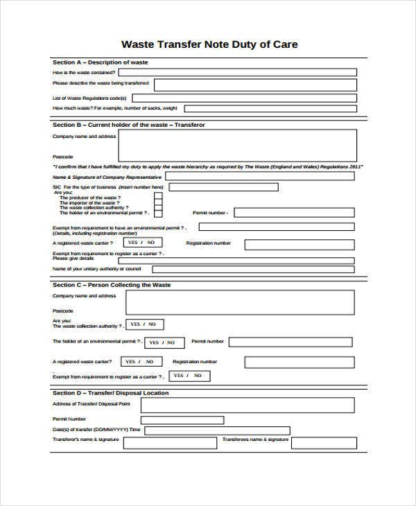 waste transfer note template