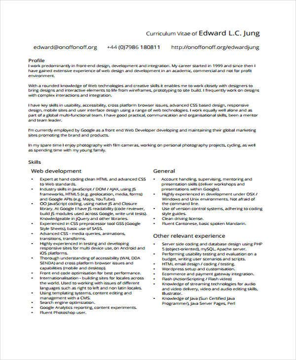 web developer resumes 9 free word pdf format