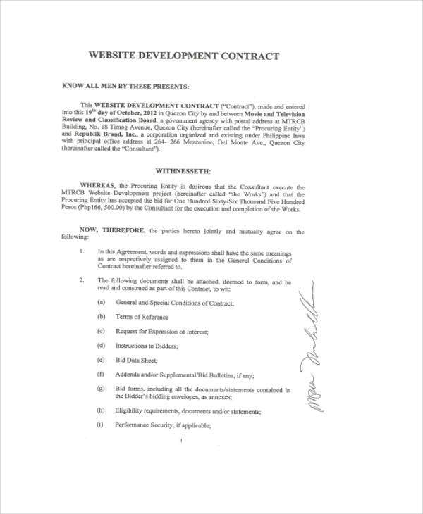 Development Contract Templates 8 Free PDF Format