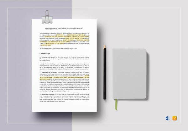 website design hosting and commercial services agreement template