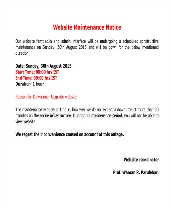 Maintenance Notice Templates 8 Free Word Pdf Format