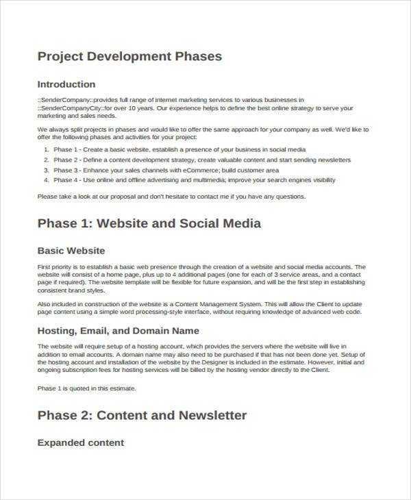 8 development project proposal templates word pdf free website project proposal pronofoot35fo Images