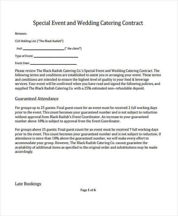 9 catering contract templates free sample example for Event terms and conditions template