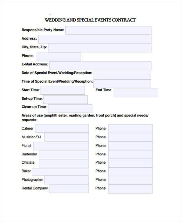 Attractive Wedding Event Contract Template