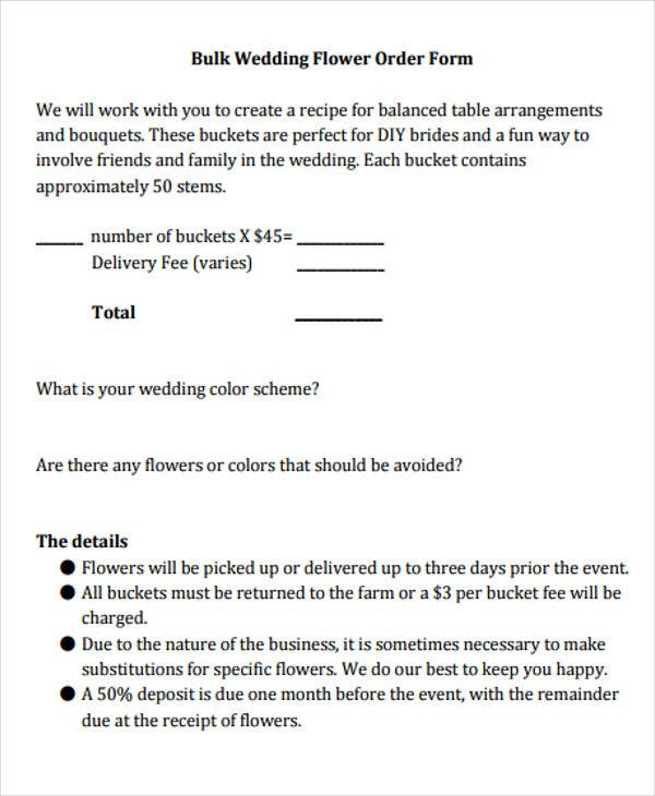 wedding flower order template