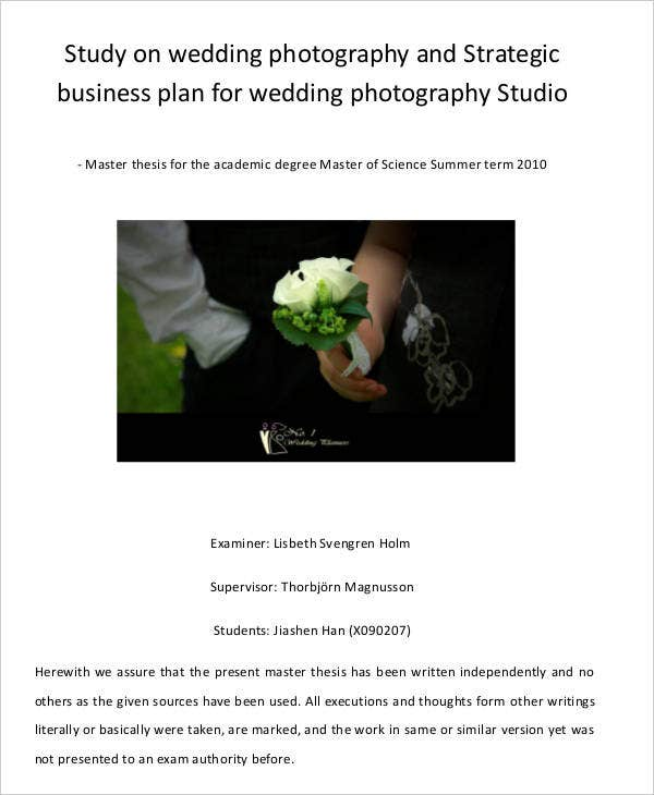 Sample wedding photography business plan