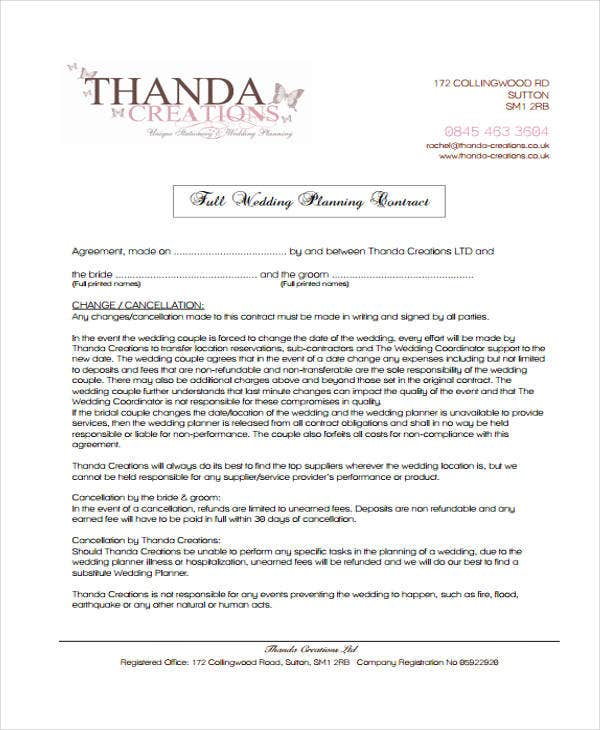 wedding planner contract example. Resume Example. Resume CV Cover Letter