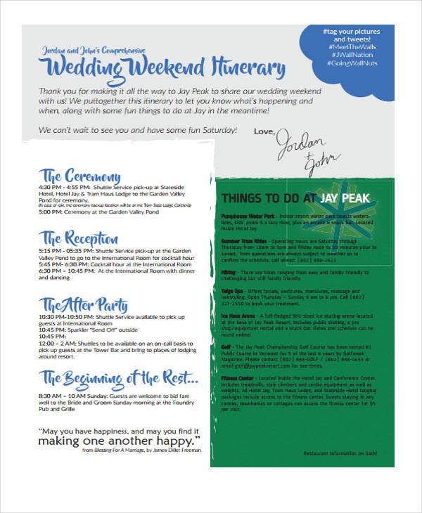 5+ Weekend Itinerary Templates - Free Sample, Example Format