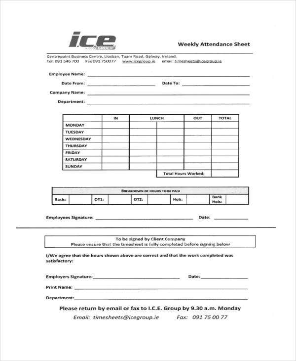 weekly sheet templates 10 free word pdf format download free