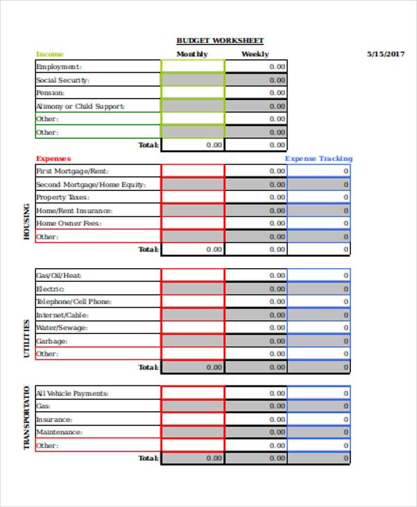 weekly expense worksheet