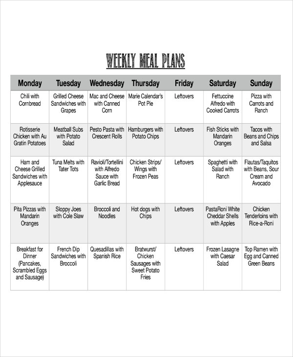 Meal Calendar Templates  Free Sample Example Format Download