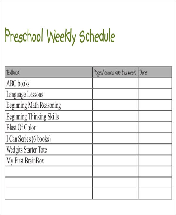 Preschool schedule templates 8 free sample example for Vesting schedule template