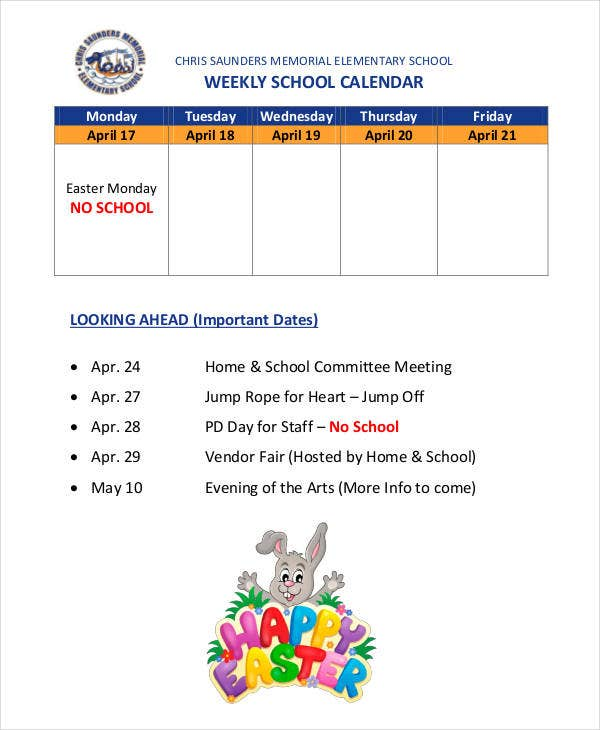 weekly school calendar template
