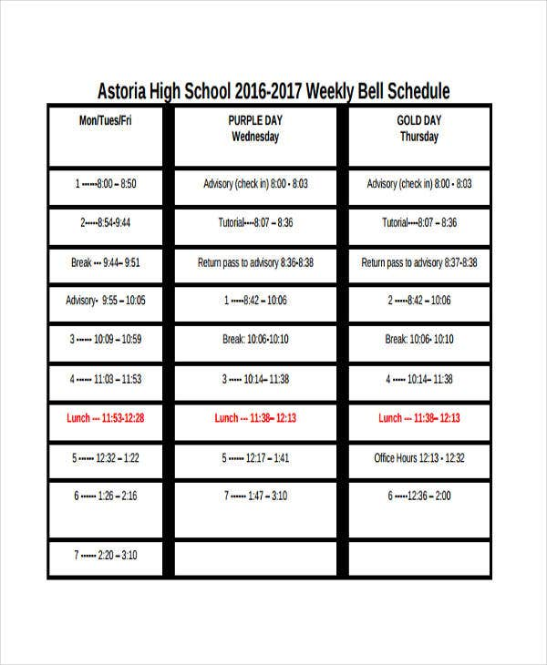 weekly school schedule