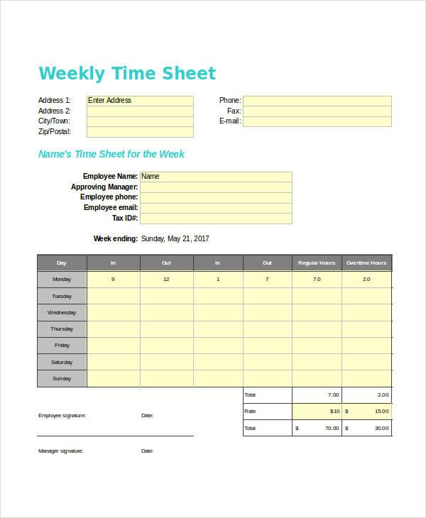weekly sheet1
